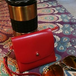 ASOS genuine leather wristlet wallet small red